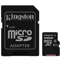 Карта памяти MicroSD 128Gb Kingston(Class10 SDC10G2/128GB + adapter)